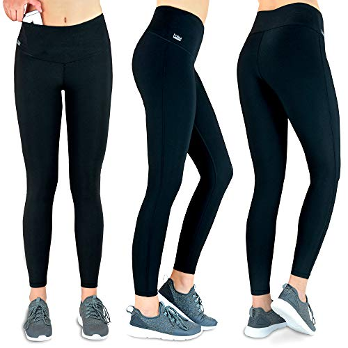 Formbelt Damen Laufhose mit Tasche lang - Yoga Leggins, Lange Sportleggings, Sporthose Sportleggings high...