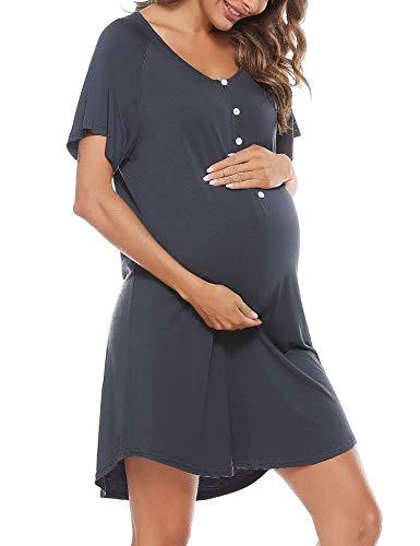 Aibrou Stillnachthemd Damen Kurzarm Nachthemd Stillshirt mit Knopfleiste, Umstandskleid Baumwolle V Ausschnitt...