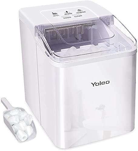 YOLEO Eiswürfelmaschine, leise Ice Maker 9 Eiswürfel in 8 Minuten, 12kg /24 Stunden,...