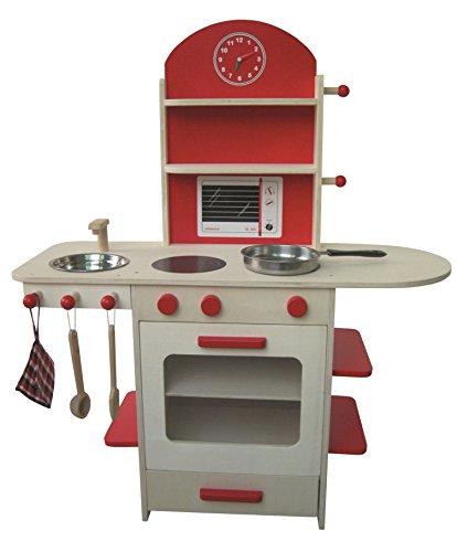 roba Spielküche, Holzküche natur, rot, Kinderspielküche, Kinderküche mit Herd, Spüle, Wasserhahn & Regal