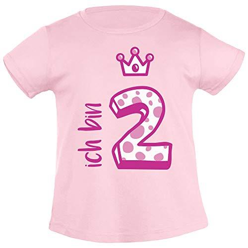 Shirtgeil Ich bin Zwei Krone 2 Geburtstag Mädchen T-Shirt 104 Rosa