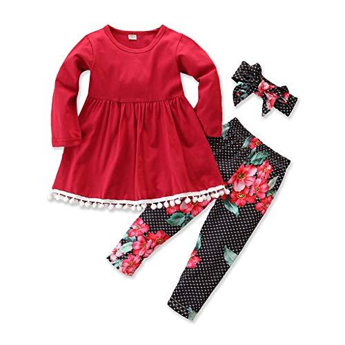 Baby Kinder Mädchen T-Shirt + Floral Pants + Stirnband Outfits Sets Kleinkind Tops Kleid Trousers Kleidung...