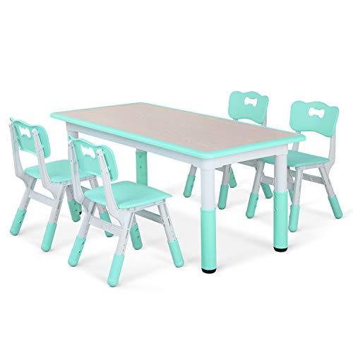 LAZY BUDDY Kindertisch mit 4 Stühlen, Kindertischgruppe Plastik, Höhenverstellbar Zeichenbrett Holz Table...