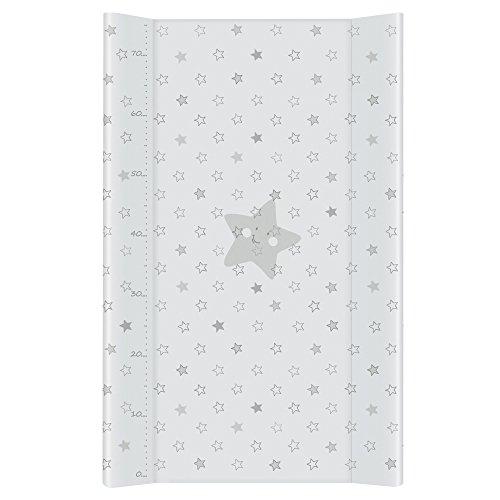 Wickelauflage Wickelunterlage Wickeltischauflage 2 Keil 80x50 cm Abwaschbar - Graue Sterne 80 x 50 cm