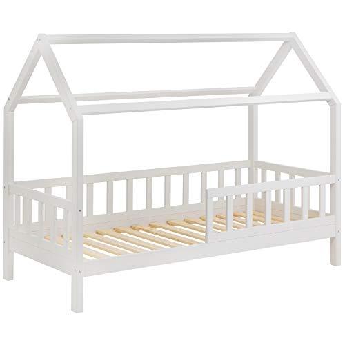 Schönes Kinderbett 90x200 cm mit Rausfallschutz - Hausbett für Kinder aus Holz im skandinavischen HausStil |...