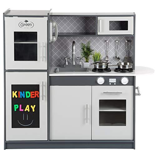 Kinderholzküche Kinderküche Holzküche Kinderspielküche Weiss Spielzeugküche LED GS0057 Spielküche mit...