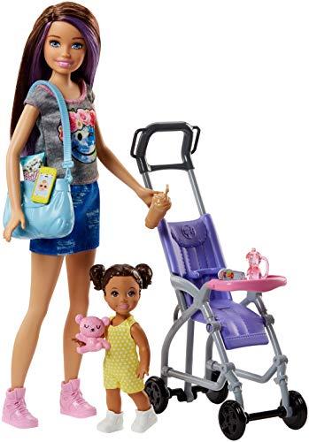Barbie FJB00 Skipper Babysitters Puppen und Kinderwagen Spielset, Multi-Colour