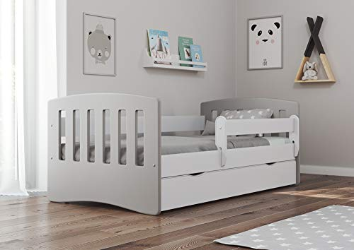 Bjird Kinderbett Jugendbett 80x160 80x180 Grau mit Rausfallschutz Schubalde und Lattenrost Kinderbetten für...