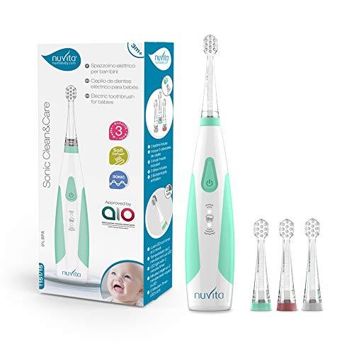 Nuvita 1151 | Sonic Clean&Care | Kinderzahnbürste Elektrische für Babys & Kleinkinder | 3 Stufen Sonic...