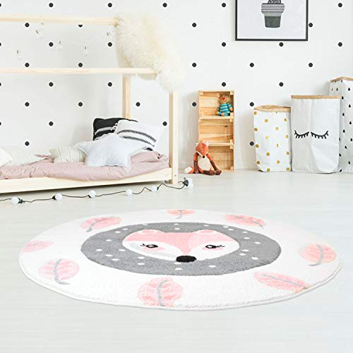Kinderteppich Hochwertig Konturenschnitt, Glanzgarn mit Fuchs und Blättern in Rosa, Creme für Kinderzimmer...