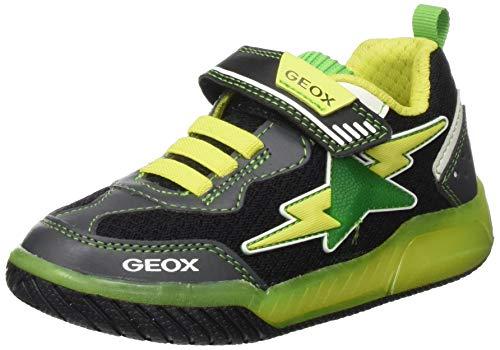 Geox Jungen J INEK Boy B Sneaker, Schwarz (Black/Lime C0802), 34 EU