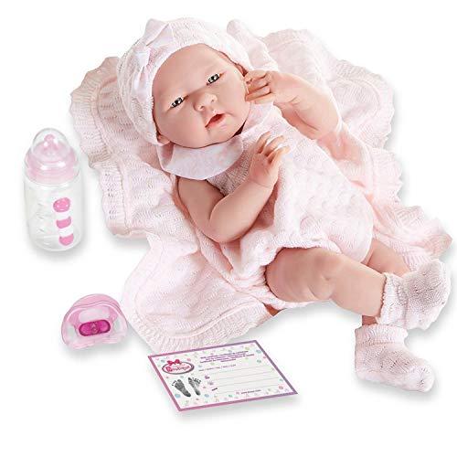 Berenguer Baby-Puppe in rosa Strickstrampler mit Decke, Vinyl, Mädchen