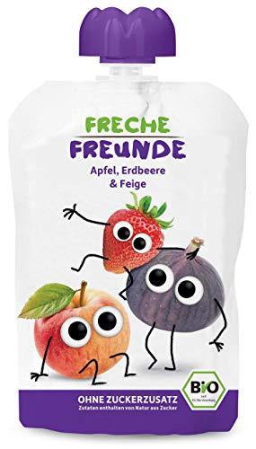 FRECHE FREUNDE Bio Quetschie Apfel, Erdbeer & Feige, Fruchtmus im Quetschbeutel für Babys ab 1. Jahr,...