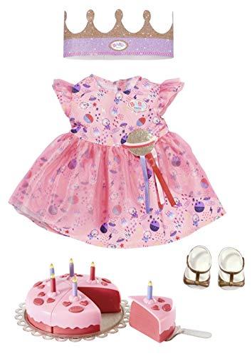 Zapf Creation 830789 BABY born Deluxe Happy Birthday Set 43 cm - Geburtstags-Set für Puppen mit rosa...