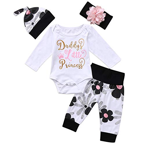 Geagodelia Babykleidung Set Baby Mädchen Langarm Body Strampler + Hose + Stirnband Mütze Kleinkinder...