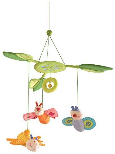 Haba 3735 - Mobile Blütenfalter, Baby-Mobile zum Aufhängen mit 3 abnehmbaren Schmetterlingen, Blätterdach...