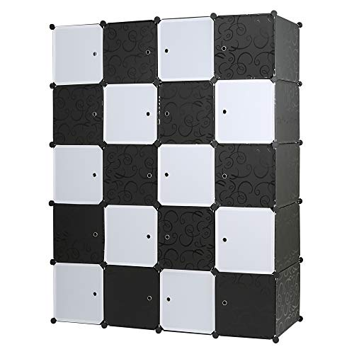 Edaygo Regalsystem DIY Steckschrank Garderobenschrank Kleiderschrank Kinderzimmerschrank, 20 Würfel, Größe...