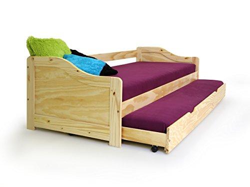 moebel-eins Laura Funktionsbett Bett Tandemliege Jugendbett Stauraumbett und Kinderbett mit Bettkasten Pinie...