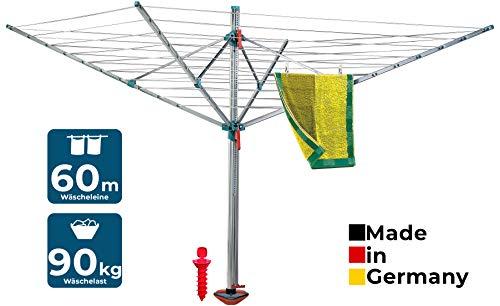 BLOME Wäschespinne Standard Idea - Wäscheständer Komplett-Set inkl. Bodenhülse zum eindrehen &...