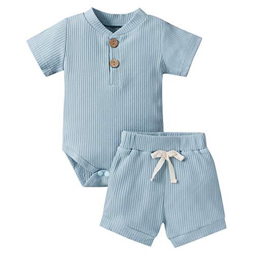 Geagodelia Babykleidung Set Baby Jungen Mädchen Kleidung Outfit Kurzarm Body Strampler + Shorts Neugeborene...