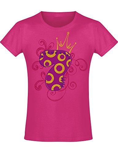 Mädchen Geburtstags T-Shirt: 7 Jahre mit Krone - Sieben Siebter Geburtstag Kind-er - Geschenk-Idee -...