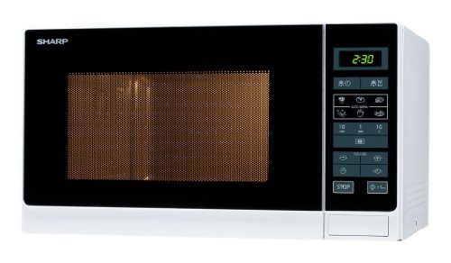 Sharp R342WW Solo-Mikrowelle / 25 L / 900 W / LED-Display / 8 Automatikprogramme / Timer / Gewichtgesteuertes...