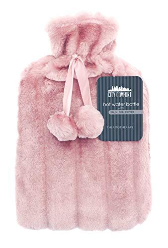 CityComfort Wärmflasche mit Super Soft Luxury Plüschbezug | 2 Liter Wärmflaschen | Britisches Design sicher...
