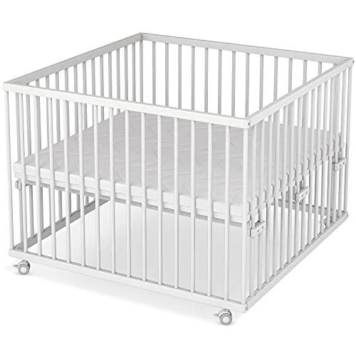 Sämann® Laufgitter 100x100 cm mit Matratze, TÜV geprüft 2020, stufenlos höhenverstellbar, Baby Laufstall,...