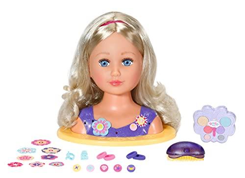 Zapf Creation 825990 BABY born Sister Styling Head - Schminkkopf, Frisierkopf mit hochwertigen langen blonden...