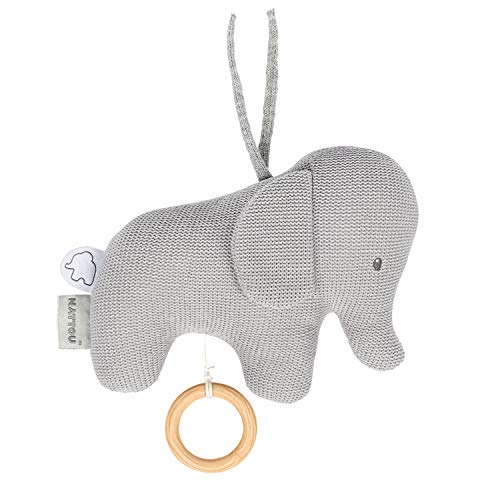 Nattou 929042 Tembo Cotton Knitted Elephant Musical Soft Toy Spieluhr, Grau (gestrickt), 18 x 21 cm