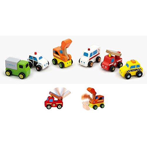 VIGA 4422237 Lot de kleinen Autos aus Holz # 59621–6-teilig, Multi Color, n.a