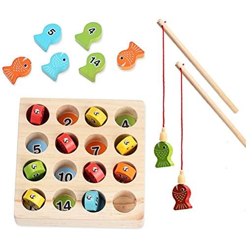 Angelspiel Holz ab 2 3 4 Jahre, Motorikspielzeug Fisch Angel Spiel für Kinder, Montessori Motorik Holz...