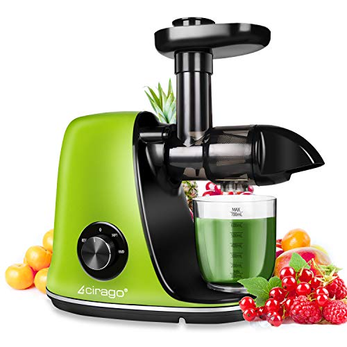 CIRAGO Entsafter Slow Juicer, BPA Frei Entsafter Gemuese und Obst, mit 2 Geschwindigkeitsmod, Ruhiger Motor...