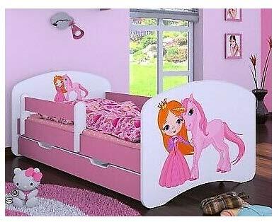 HB Kinderbett mit Matratze und Bettkasten verschiedene Varianten Mädchen ROSA (160x80 cm, Prinzessin mit...