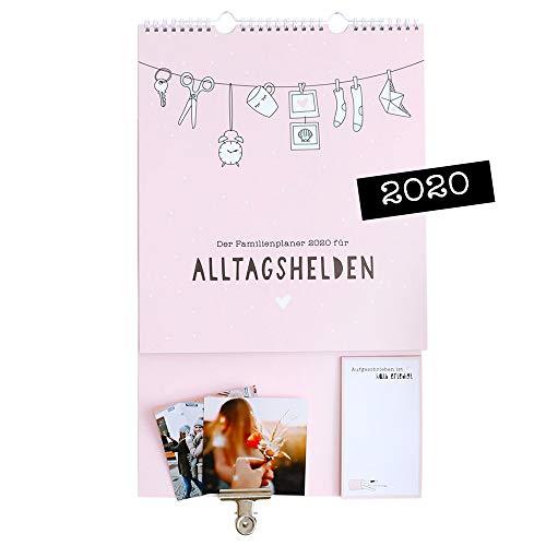 Odernichtoderdoch Wandkalender'Alltagshelden' - Kalender für die ganze Familie - rosa Familienkalender, 28 cm...