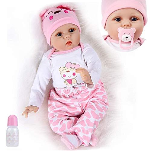 Lebensecht Reborn Babys Doll Puppen Silikon Mädchen WiederGeboren Reborn Babypuppen Rosa Bär Outfit...
