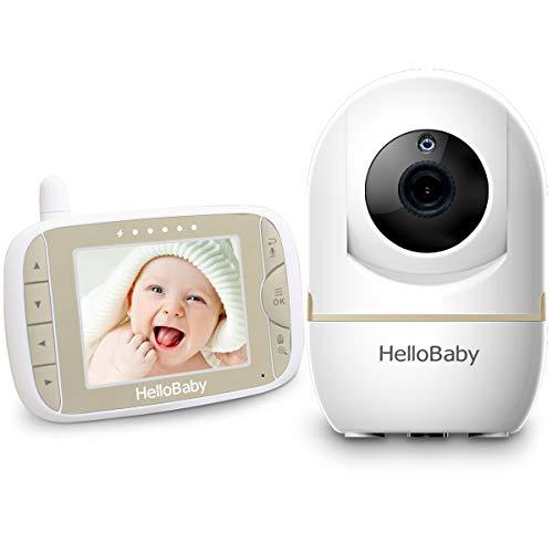 HelloBaby Video Babyphone mit Remote-Kamera Pan-Tilt-Zoom 3,2-Zoll-Farb-LCD-Bildschirm Infrarot-Nachtsicht...