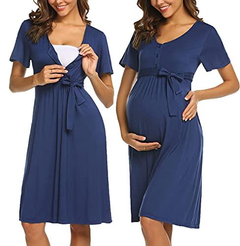 ADOME Frauen Pflege/Geburt/Krankenhaus Nachthemd Kurzarm Nachthemd Umstandsnachthemd mit Knopf Stillnachthemd...