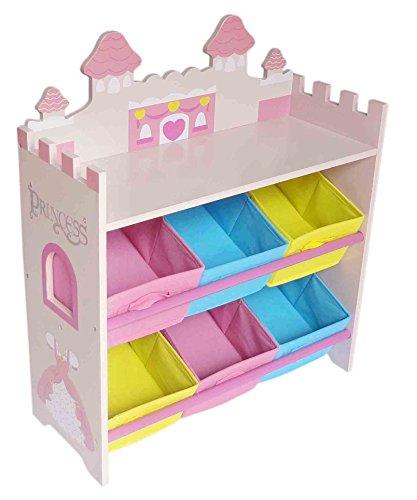 Prinzessinnen Kinderregal mit 6 Boxen & stylisches Prinzessin Kinder Aufbewahrungsregal in Rosa – Kinder...