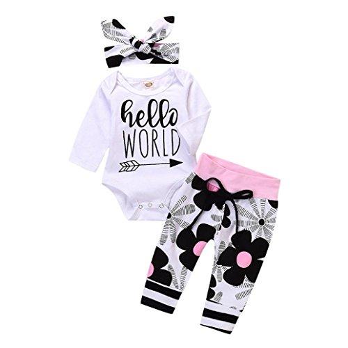 Neugeborene Baby Mädchen Junge Langarm Drucken Strampler Overall + Blumen Lange Horse Pants Outfit Set Kinder...