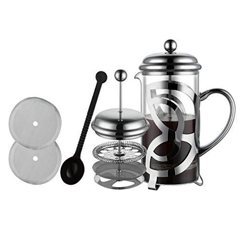MeelioCafe Kaffeepresse French Press 1L(6 Tassen), Kaffeebereiter mit Edelstahl Filter - Hitzebeständiges...
