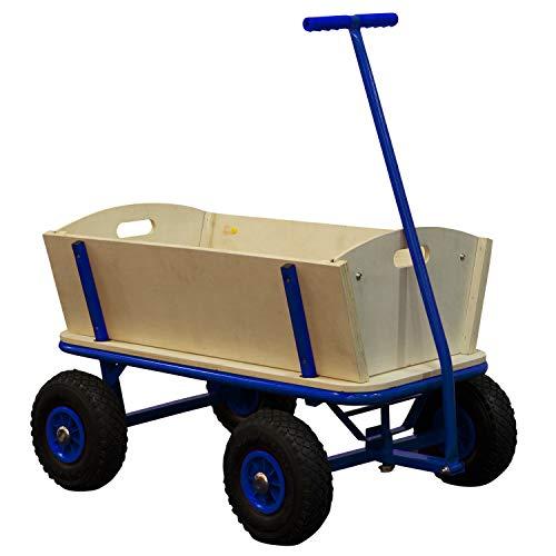 SUNNY Billy Beach Wagon Bollerwagen in Blau | Kinder Handwagen aus Holz mit Luftreifen | Belastbar bis 100 kg
