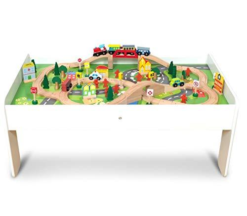 Coemo Spieltisch mit Holz-Eisenbahn Set mit 91 Teilen – Multifunktionstisch für Kinder zum Spielen,...