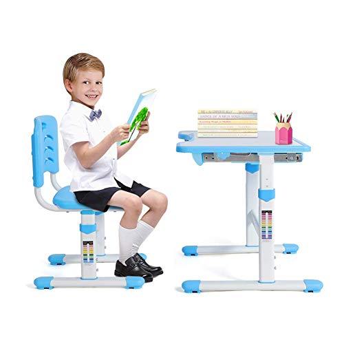Kinderschreibtisch höhenverstellbar, Kindertisch mit Stuhl Ergonomisch Kinderschreibtisch Stuhl...