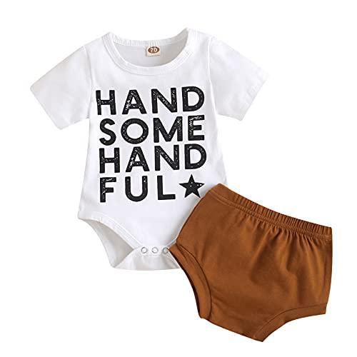 Briskorry Babykleidung Set Baby Mädchen Kleidung Kurzarm Body Strampler + Hose Neugeborene Briefdruck T-Shirt...