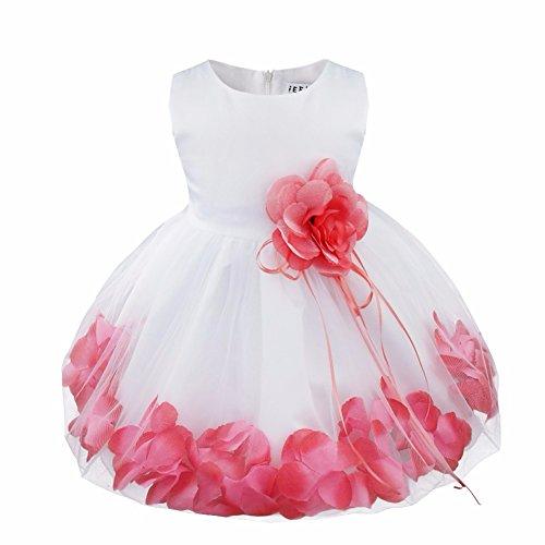 YiZYiF Baby Mädchen Kleid mit Blütenblätter Festlich Kleid Gr. 62-92 Hochzeit Kleinkind Verkleidung Weiß +...