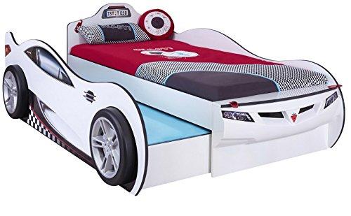 Cilek COUPE Ausziehbett Rennfahrerbett Autobett Kinderbett Bett Weiß (mit 2 Matratzen)