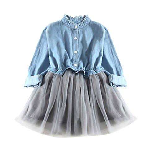 Kinderbekleidung,Honestyi Kleinkind Baby Mädchen Denim Kleid Langarm Prinzessin Tutu Kleid Cowboy Kleidung...