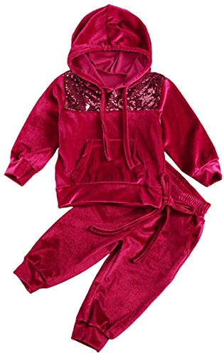 MoccyBabeLee Kinder Baby Mädchen Sportbekleidung 2St. Samt Hoodie Trainingsanzug Top Lange Hose Hose Kleine...