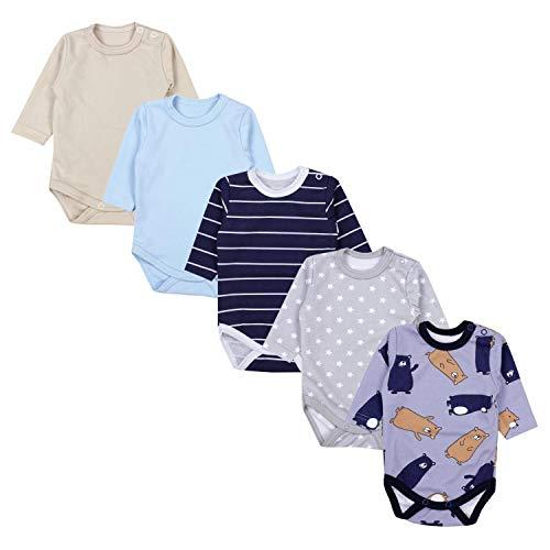 TupTam Baby Unisex Langarm Body mit Aufdruck Spruch 5er Pack, Farbe: Junge 5, Größe: 104